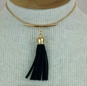 NWOT Gold Tone & Black Tassle Choker Necklace